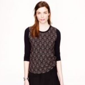 J Crew Black Flowered Long Cotton Tee